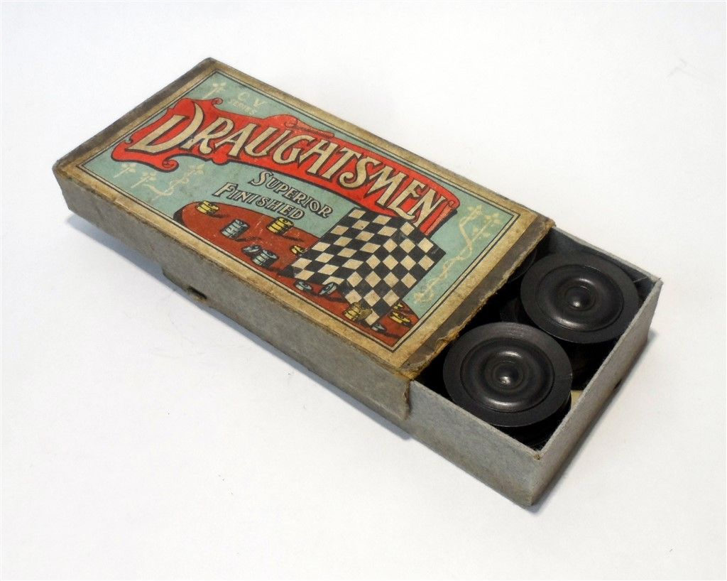 vintage game cv series chad valley draughtsmen superior finish draughts checkers set 1930s boxed